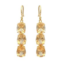 Three Stone Citrine 925 Sterling Silver Yellow Rhodium Plated Dangle Hoo... - $50.10