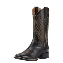 Womens Cowboy Boot Ariat Leather Rubber sole Top Quality Limousine Black - $180.92