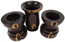 Mulga Wood Pillar Candle Holder & Matching Vase Set 3 - $15.65