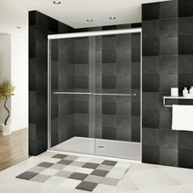 56-60 x 76 Bypass Sliding Shower Door ULTRA-A Brushed Nickel by LessCare - $685.79