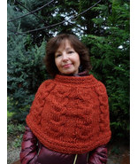 Knitted Womens Orange Capelet Shoulder and Neck warmer Hand knit Little ... - $59.00
