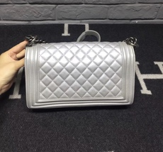 AUTHENTIC CHANEL SILVER QUILTED CALFSKIN MEDIUM BOY FLAP BAG RHW image 3
