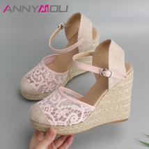 ANNYMOLI Platform Wedge Sandals Women Shoes 2019 Espadrille High Heels B... - $185.40+