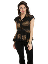 Ira Soleil Black Block Printed poly knit stretch peplum women top  - $49.99