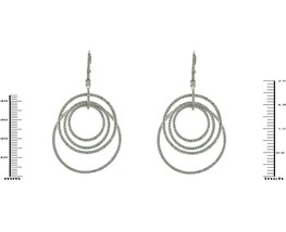 Trendy Pave Clear 5A CZ Rhodium Plated Layered Circle Hoop Earrings - $89.09