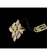 Vintage Trifari Mid Century Gold Tone Rhinestone Leaf Ring Adjustable 4.... - $62.99