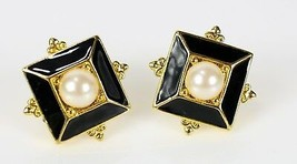 """Vintage Gold Tone Chunky Faux Pearl Square """" PREMIER """" Costume Jewelry E... - $11.49"""