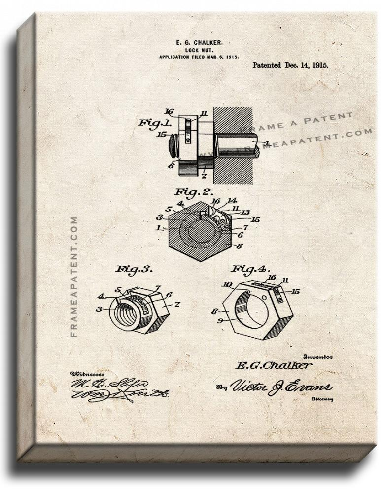 Primary image for Locknut Patent Print Old Look on Canvas