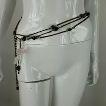 Xhilaration Womens Small Leather Beaded Waist Chain Belt Brown & Green 3... - $11.29