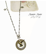 Heritage Drop Necklace:vintage button & coin,antique silver rosary chain... - $15.00