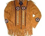 Qastan Men's Western Golden Brown Suede Leather Jacket Fringes/Bones/BeadsFJ23 - £92.50 GBP