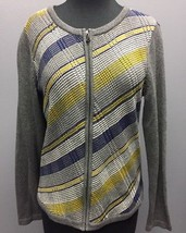 TALBOTS Gray Blue Yellow White Stripped Knit Cardigan Sweater W Zipper C... - $23.74