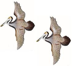 Set of 2 Hand Carved Flying Colorful Wood Pelican Wall Art Hang on Tropical Naut - $39.54