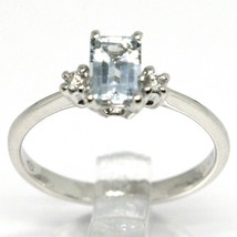18K WHITE GOLD BAND RING AQUAMARINE 0.45 EMERALD CUT & DIAMONDS, MADE IN ITALY  image 2