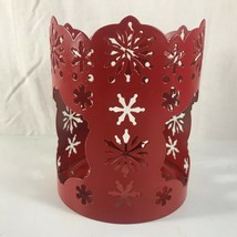 PartyLite Red Snowflake Christmas Jar Candle Holder Metal Party Lite Par... - $11.13