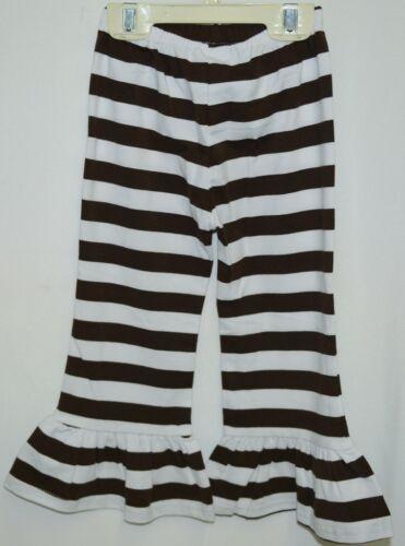 Blanks Boutique Girls Brown White Stripe Ruffle Pants Size 2T