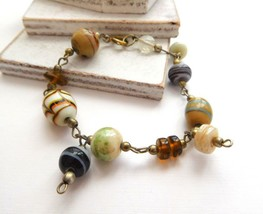 Boho Earth Tone Brown White Black Amber Art Glass Bead Charm Bracelet R28 - $4.94