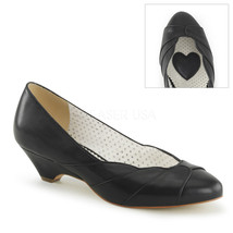 """PINUP COUTURE Lulu-05 Series 1 1/2"""" Kitten Wedge Pumps - Black Faux Leather - $39.95"""