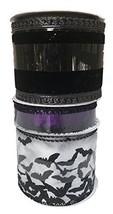 White Ribbon with Glittered Bats Black Velvet and Purple Mesh with Black... - £16.56 GBP