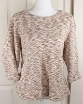 Coldwater Creek Cream Brown Knit Boxy Scoop Neck Sweatshirt Sweater Sz XL (16) - $14.95
