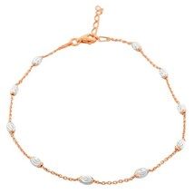 925 Sterling Silver Link Chain Anklet Bracelet (Pink and White) - $26.73