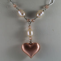 .925 SILVER RHODIUM NECKLACE WITH PINK PEARLS, PINK CRYSTALS AND HEART PENDANT image 3