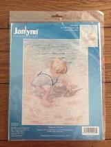 Janlynn Boy with Horseshoe Crab Counted Cross Stitch Kit Beach Scene New... - $16.40