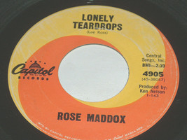 45 RPM Rose Maddox George Carter, Lonely Teardrops Capitol Vinyl Record ... - $7.90