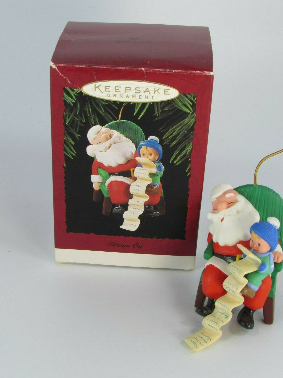 Primary image for Hallmark 1995 Dream On Ornament  Santa & Child with List 28803