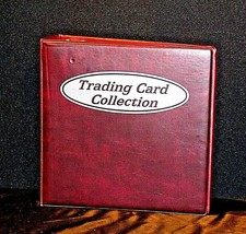 Burgundy Trading Card Collection 3 Ring Album AA19-1452 Vintage