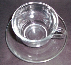 Arcoroc Cup & Saucer Set Clear Glass Collectible Glass- Made In France - $11.99