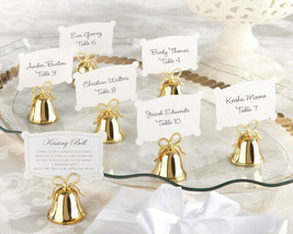 120 gold kissing bell place card holder wedding place card holders favors - $138.60