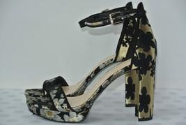 NEW Nine West Dempsey Womens 6 M Black & Gold Floral Ankle Strap Platfor... - $49.49
