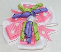 Unbranded Girl Infant Toddler Headband Removable Hair Bow Pink PolkaDot Curly Qs image 6