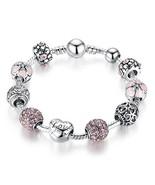 Bamoer Beaded Charm Bracelet Amor Love Heart Crystal Beads Charm Bracele... - $14.24