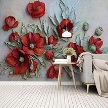 """3D Wallpaper """"Red Poppy Flowers"""" - $35.00+"""