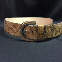 "Banana Republic Genuine Leather Faux Reptile Print 2.25"" Wide Beige Belt... - $29.69"