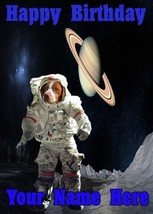 brittany spaniel Space suit moon A5 Birthday Greeting personalised A5 Codespd - $4.06