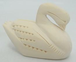 """Manuel Montoya Carved Swan Natural Wood 3"""" Long Signed Chip Carving image 2"""