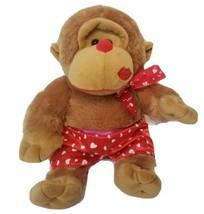 Hug & Luv Plush Monkey Valentine Red Boxers with Hearts Kiss Stuffed Ani... - $12.86