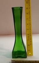 Vintage Europa Square Base Paneled Emerald Green Glass Bud Vase 1409 88 - $11.99