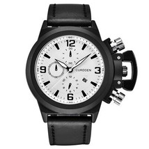 CURDEEN Watches Mens Leather Band Calendar Wrist Watch Men  Military Vintage Wat - $33.58