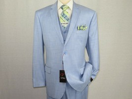 Men's VITALI Three Piece Suit Vested Shiny Sharkskin Plain front M3090 S... - $119.96