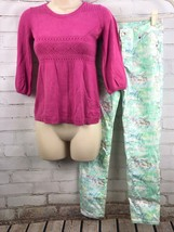 JUSTICE Lightweight Sweater Top + Unicorn Premium Jeans Size 12 Set Lot - $35.64