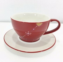 Starbucks Holiday 2006 Red Cup & Saucer Set 12 oz Gold & White Snowflakes Coffee - $32.83
