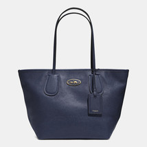 COACH TAXI ZIP TOP TOTE/HANDBAG IN LEATHER, NAV... - $140.29
