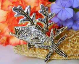 Grouper Bass Fish Pendant Brooch Pin Tropical Starfish Signed MJ  - $17.95