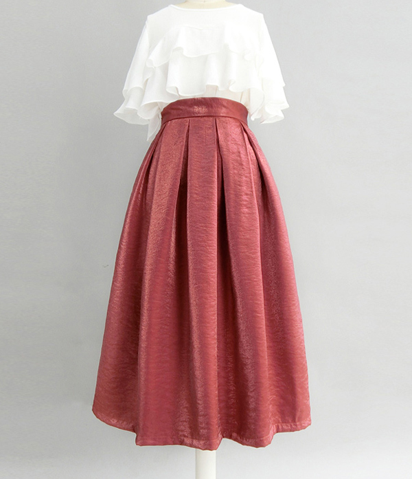 Burgundy Midi Party Skirt Outfit Glitter A-line Pleated Midi Skirt Plus Size