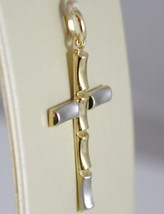 Cross Pendant Yellow Gold White 750 18K, Wavy, Satin, Made in Italy image 2