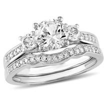 1.50 Created White Round Cut Sim Diamond Three-Stone Bridal Set 10K White Gold - $267.29